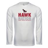 Performance White Longsleeve Shirt-Hawk Nation