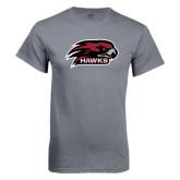 Charcoal T Shirt-Hawk Head w/ Hawks