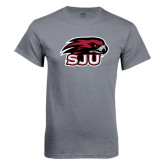 Charcoal T Shirt-Hawk Head w/ SJU