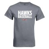Charcoal T Shirt-Hawks Baseball Stacked