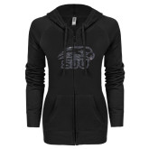 ENZA Ladies Black Light Weight Fleece Full Zip Hoodie-Hawk Head w/ SUJ Glitter