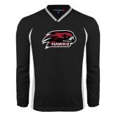 's V Neck Black Raglan Windshirt-Hawk Head w/ Hawks