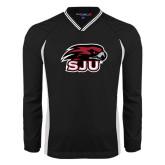 's V Neck Black Raglan Windshirt-Hawk Head w/ SUJ