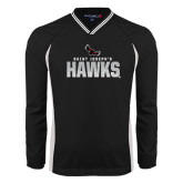 's V Neck Black Raglan Windshirt-Saint Josephs Hawks Splash