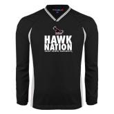 's V Neck Black Raglan Windshirt-Hawk Nation