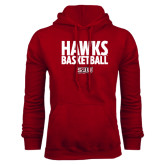 Cardinal Fleece Hood-Hawks Basketball Stacked