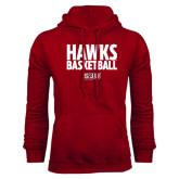 Cardinal Fleece Hoodie-Hawks Basketball Stacked