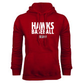 Cardinal Fleece Hood-Hawks Baseball Stacked