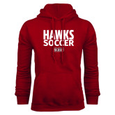 Cardinal Fleece Hood-Hawks Soccer Stacked