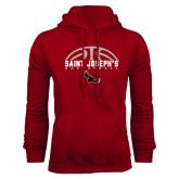 Cardinal Fleece Hoodie-Basketball Half Ball Design