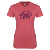 Next Level Ladies SoftStyle Junior Fitted Pink Tee-Hawk Head w/ SUJ Glitter