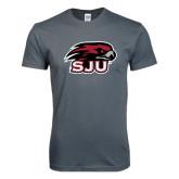 Next Level SoftStyle Charcoal T Shirt-Hawk Head w/ SJU