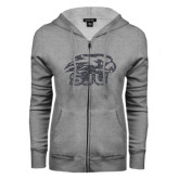 ENZA Ladies Grey Fleece Full Zip Hoodie-Hawk Head w/ SUJ Glitter