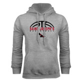 Grey Fleece Hood-Basketball Half Ball Design