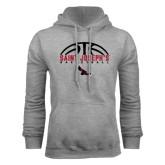 Grey Fleece Hoodie-Basketball Half Ball Design