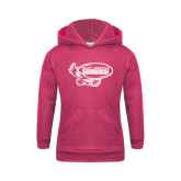 Youth Raspberry Fleece Hoodie-Primary Mark