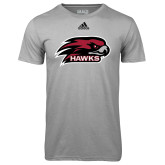 Adidas Climalite Sport Grey Ultimate Performance Tee-Hawk Head w/ Hawks