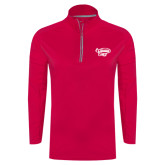 's Ladies Pink Raspberry Sport Wick Textured 1/4 Zip Pullover-Primary Mark