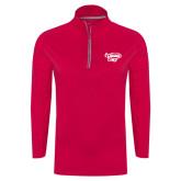 's Ladies Pink Raspberry Sport Wick Textured 1/4 Zip Pullover-Primary Mark