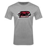 Grey T Shirt-Hawk Head w/ Hawks