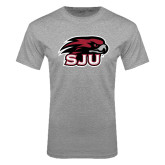 Grey T Shirt-Hawk Head w/ SJU