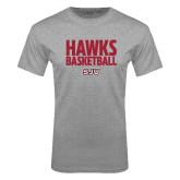 Grey T Shirt-Hawks Basketball Stacked