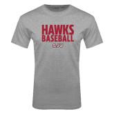 Grey T Shirt-Hawks Baseball Stacked
