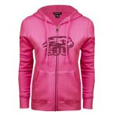 ENZA Ladies Fuchsia Fleece Full Zip Hoodie-Hawk Head w/ SUJ Glitter