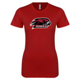 Next Level Ladies SoftStyle Junior Fitted Cardinal Tee-Hawk Head w/ Hawks