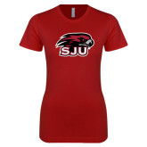 Next Level Ladies SoftStyle Junior Fitted Cardinal Tee-Hawk Head w/ SUJ