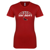 Next Level Ladies Softstyle Junior Fitted Cardinal Tee-Basketball Half Ball Design