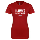 Next Level Ladies SoftStyle Junior Fitted Cardinal Tee-Hawks Basketball Stacked