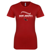 Next Level Ladies SoftStyle Junior Fitted Cardinal Tee-Baseball Seams Design