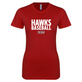 Next Level Ladies SoftStyle Junior Fitted Cardinal Tee-Hawks Baseball Stacked