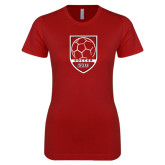Next Level Ladies Softstyle Junior Fitted Cardinal Tee-Soccer Shield Design