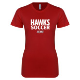 Next Level Ladies SoftStyle Junior Fitted Cardinal Tee-Hawks Soccer Stacked