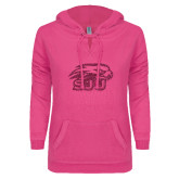 ENZA Ladies Hot Pink V Notch Raw Edge Fleece Hoodie-Hawk Head w/ SUJ Glitter