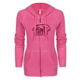 ENZA Ladies Hot Pink Light Weight Fleece Full Zip Hoodie-Hawk Head w/ SUJ Glitter