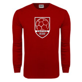 Cardinal Long Sleeve T Shirt-Soccer Shield Design