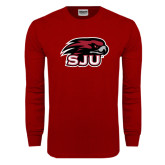 Cardinal Long Sleeve T Shirt-Hawk Head w/ SUJ