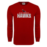 Cardinal Long Sleeve T Shirt-Saint Josephs Hawks Splash