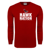 Cardinal Long Sleeve T Shirt-Hawk Nation