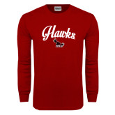 Cardinal Long Sleeve T Shirt-Scripted Hawks