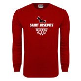 Cardinal Long Sleeve T Shirt-Basketball Sharp Net Design