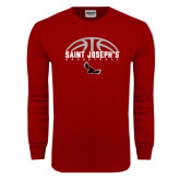 Cardinal Long Sleeve T Shirt-Basketball Half Ball Design