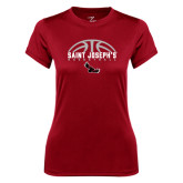 Ladies Syntrel Performance Cardinal Tee-Basketball Half Ball Design