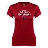 Ladies Syntrel Performance Cardinal Tee-Basketball Half Ball Design