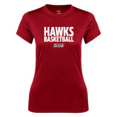 Ladies Syntrel Performance Cardinal Tee-Hawks Basketball Stacked