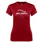 Ladies Syntrel Performance Cardinal Tee-Baseball Seams Design