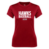 Ladies Syntrel Performance Cardinal Tee-Hawks Baseball Stacked